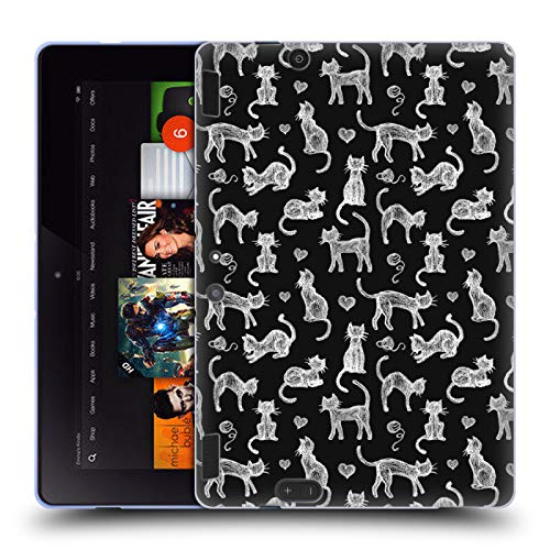 Official Micklyn Le Feuvre Teachers Pet Chalkboard Cats Animals Soft Gel Case Compatible for Amazon Kindle Fire HDX 8.9