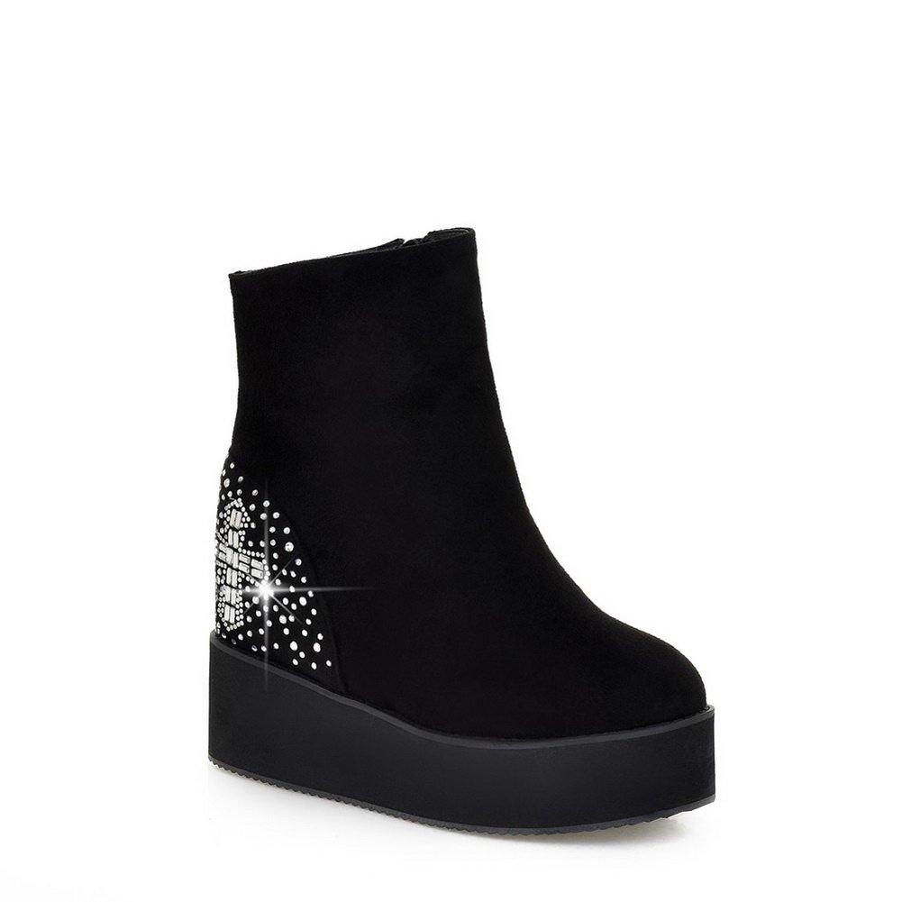 AdeeSu Fashion Womens Fashion AdeeSu Slip-Resistant Rhinestones Wedges Suede Boots SXC02185 B077YZT8QW Wedge 028213