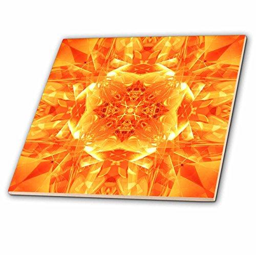 Kaleidoscope Glass Tile (3dRose ct_21924_2 Orange Kaleidoscope Digital Mandala of Orange Glasses in Brightly Reflective Design Ceramic Tile, 6-Inch)