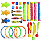 R HORSE Underwater Swimming/Diving Pool Toy Set, Diving Rings, Toypedo Bandits, Diving Sticks, Diving Toy Balls, Fish Bones, Under Water Treasures Gift, Dive Gift for Children Kids (25 Packs)