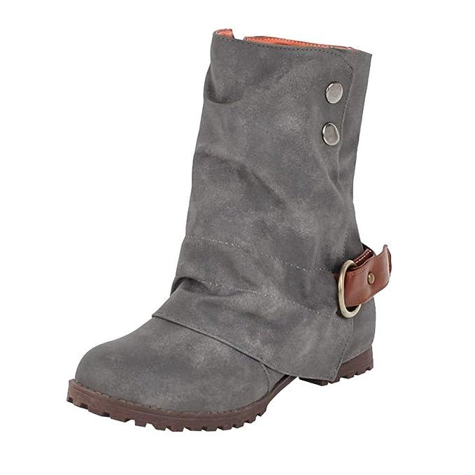 aa747fef2 Mymyguoe Botas Mujer Invierno Zapatos Planas Altas Tacon para Mujeres Botas  CuñA Botas de Tubo Medio Botines con Hebilla Baja Zapatos Casuales Black  Friday ...
