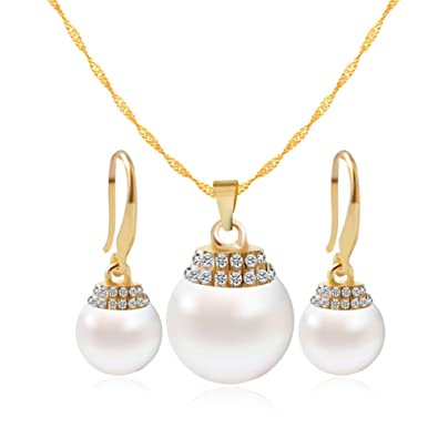 446bbf566c Amazon.com: Pearl Jewelry Set for Women Gold Plated Pendant Statement  Crystal Dangle Earring Necklace Set for Bridesmaid: Jewelry
