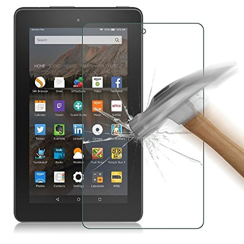 Asstar Made for Amazon Kindle Fire HD 7 2015, Premium Tempered Glass Glass Clear Screen Protector (HD) Touch screen 0.3mm 2.5D for Amazon Fire Tablet (7 inch Display, 2015 Release Only) (1 Pack) - Hybrid Round Table