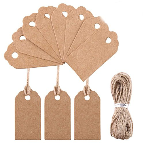 Decora 100 Pieces Mini Retro Gift Kraft Tags 2x4 cm Mini Plain Blank Scallop Bonbonniere Favor Tags with Jute Twines for Easter Gift Wrapping (Gift Tags Felt)