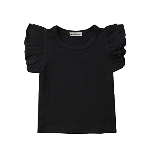 e1c8d0ac Mubineo Toddler Baby Girl Basic Plain Ruffle Sleeve Cotton T Shirts Tops Tee  Clothes (Black