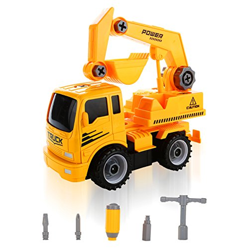 Construction Vehicle Toys For Boys : Quadpro excavator take apart toys car friction powered