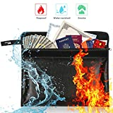 Fireproof Document Bag - Money Bag Non-Itchy Silicone Coated Water Resistant Envelope Pouch Bag Fireproof Safe Storage for Cash, Documents, Jewelry, and Passport