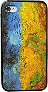 Rikki KnightTM Van Gogh Art Wheatfield Design iPhone 4 & 4s Case Cover (Black Rubber with bumper protection) for Apple iPhone 4 & 4s