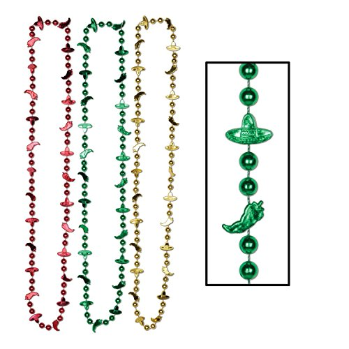Club Pack of 72 Assorted Fiesta Chili Pepper and Sombrero Bead Necklaces 33