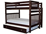 Cheap Bedz King Bunk Beds Full over Full Mission Style with End Ladder and a Full Trundle, Cappuccino