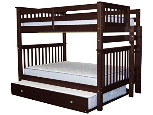 (Bedz King Bunk Beds Full over Full Mission Style with End Ladder and a Full Trundle, Cappuccino)
