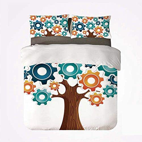 Industrial Decor Durable 3 Bedding Set,Innovation Gears Concept Tree The System of Nature Cooperation Start Up Modern Graphic for Indoor,King