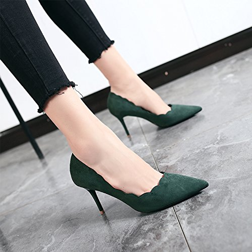 Single Wild Green Shoes Occupation Fine Work High High Female Jqdyl 10cm heels New With Pointed Spring Shoes Black Summer Heels 4nC7x