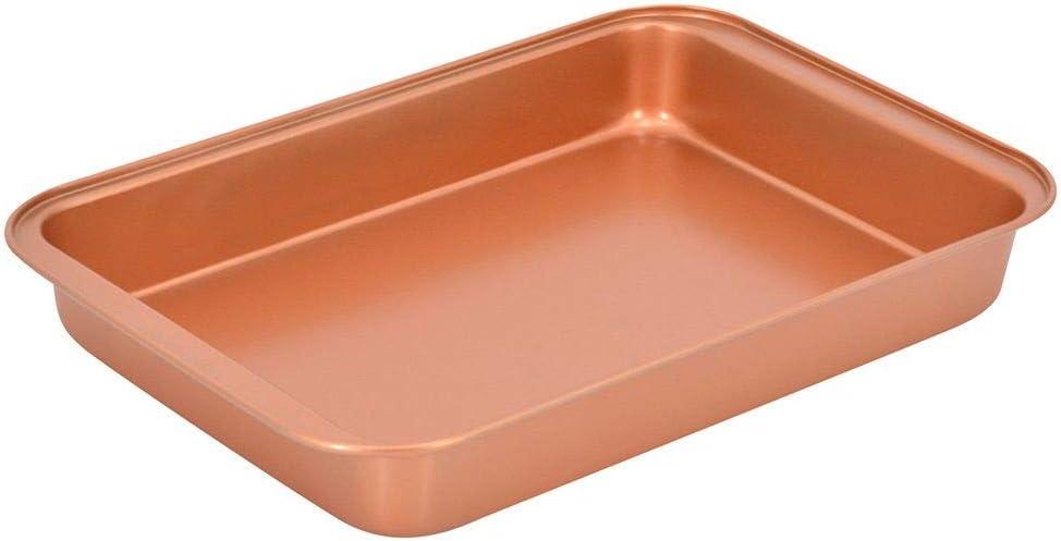Ceramic Coated 14.5×10×2.15-Inch Copper Baking Pan Premium Non-Stick Dishwasher Safe Oven 425 F- PTFE/PFOA Free