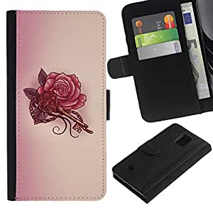 A-type (Key Tattoo Red Ink Drawing Art) Colorida Impresión Funda Cuero Monedero Caja Bolsa Cubierta Caja Piel Card Slots Para Samsung Galaxy S5 Mini (Not S5), SM-G800