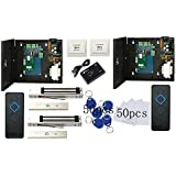 DIY 2 Doors Access Control Panel System Kits & 600lbs Magnetic Lock+110-240V Power Supply Box ++RFID Reader+Exit Button+Keyfobs/Cards (Phone APP remotely Open door)