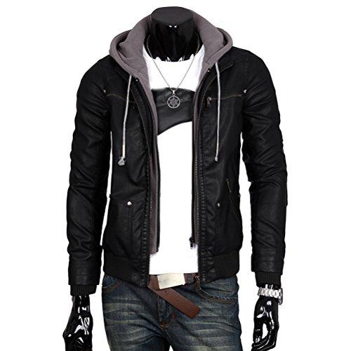 Nanxson(TM) Men's Faux-Leather Trucker Hoodie Jacket Coat WTM0037 (M)