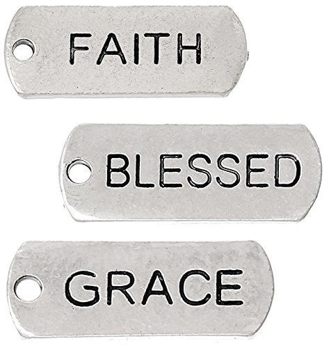87 Pc Inspirational Message Charm Pendants, Silver Tone (Faith, Blessed, Grace)