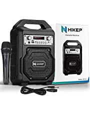 HIKEP Portable Karaoke Machine for Kids & Adults, Bluetooth Speaker with Wired Microphone for Party, Wireless PA Sound System with FM Radio, Audio Recording, TF/USB Supported Christmas Gift