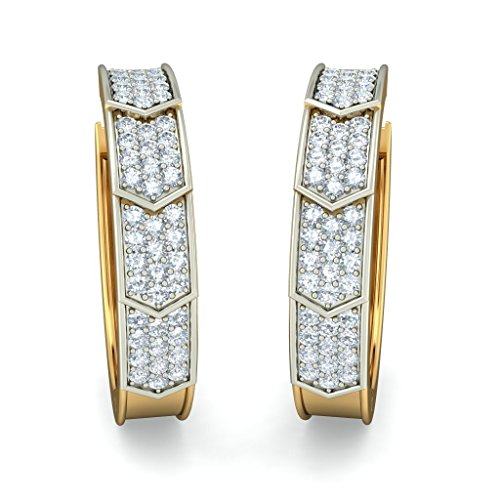 Or jaune 18 K 0,48 CT TW White-diamond (IJ | SI) Boucles d'oreilles créoles