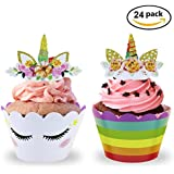 Unicorn Cupcake Toppers and Wrappers, U-Tote Unicorn Party Supplies Double Sided Birthday Cake Decorations for Kids Party (Set of 24)