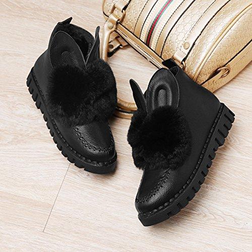 Warm Black Cute Heel Boots BERTERI Flat Head Women's Boots Ankle Round xvpZUwYqH