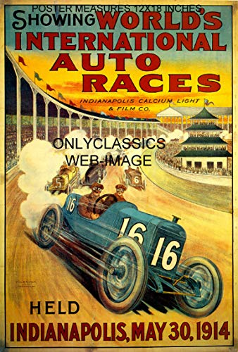 OnlyClassics Indianapolis Motor Speedway Art Deco AUTO Racing Poster INDY 500 Litho Graphics