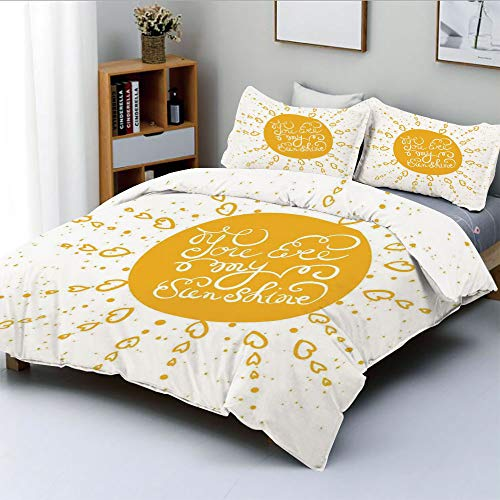 Duplex Print Duvet Cover Set Queen Size,Rounded Sun Figure Rough Heart Shaped Beams Philosophy Textured Illustration ImageDecorative 3 Piece Bedding Set with 2 Pillow Sham,Yellow,Best Gift for Kids & ()