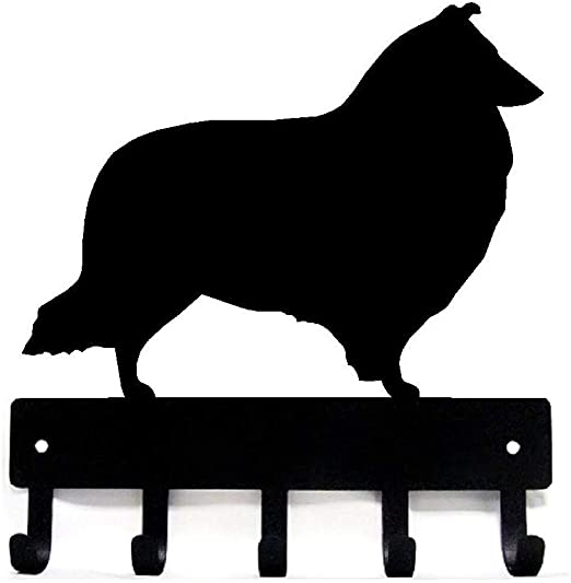 Small 6 inch Border Collie Key Rack// Dog Leash Hanger with 5 Hooks Made USA