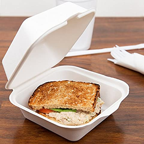 "Take Out Boxes Clamshell Hinged Biodegradable To Go Food Containers - 6""x6"" in. 125 Count. - White - by California Containers"
