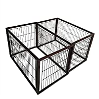 Simply Plus Deluxe Wooden Dog Crate [2017Newly Designed Model], Solid Wooden Frame+ Metal w/Divider & Tray