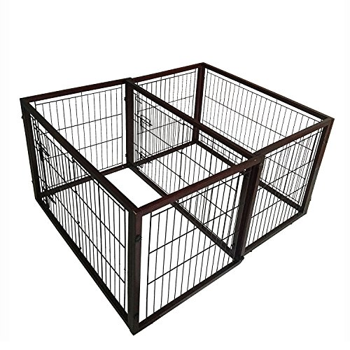 Simply Plus Dog Crate [2017Newly Designed Model], Solid Wooden Frame+ Metal w/Divider & Tray-Medium(40