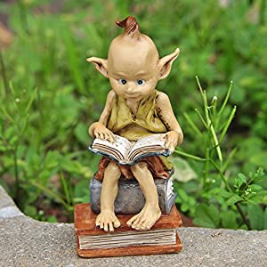 Top Collection Miniature Fairy Garden And Terrarium Statue Garden Pixie Elf Reading Book