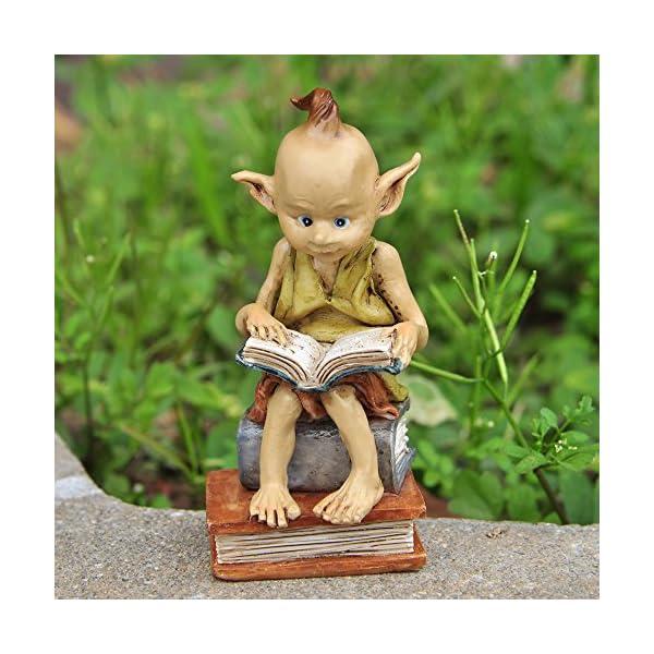 Top Collection Miniature Fairy Garden And Terrarium Statue Garden Pixie Elf Reading Book