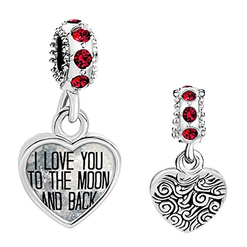 Q&Locket I Love You To The Moon And Back Charms Heart Mom Flower Live Love Laugh Charm Beads For Bracelet (Dangle Heart) - Mom Flower Charm