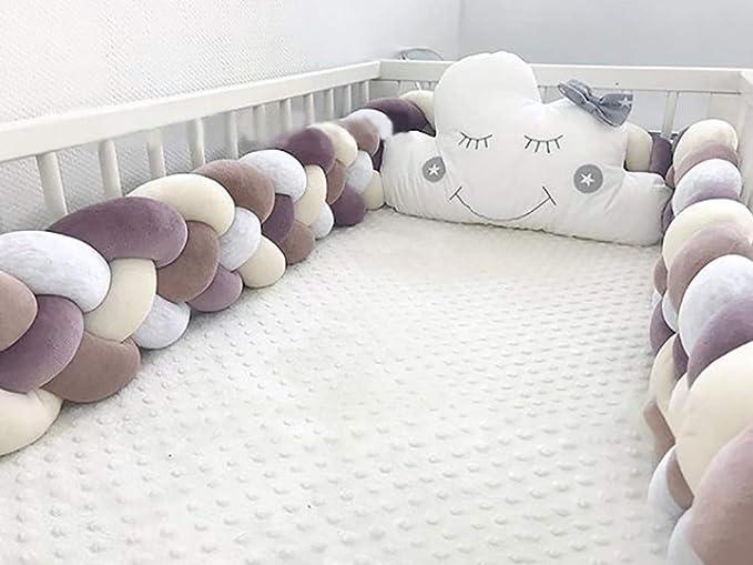 Glitzfas Housse de protection pour lit de b/éb/é avec bords tress/és 220 cm