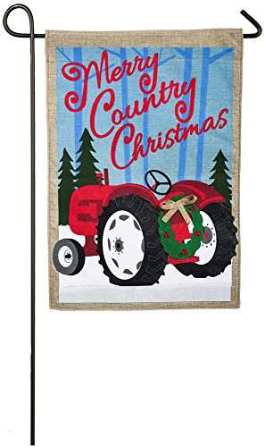 Evergreen Merry Country Christmas Burlap Garden Flag, 12.5 x