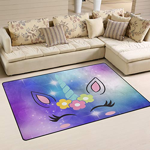 (XiangHeFu Area Rugs Doormats Vintage Cute Unicorn Face 5'x3'3 (60x39 Inches) Non-Slip Floor Mat Soft Carpet for Living Dining Bedroom Home)