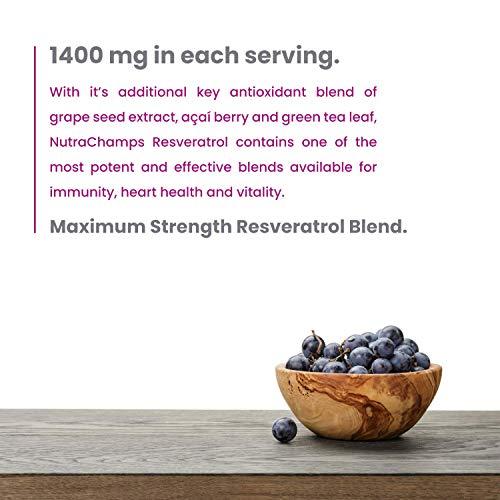 51e2Qq2jhBL - Resveratrol Supplement 1200mg - Extra Strength Formula for Maximum Anti Aging, Immune & Heart Health - 60 Vegan Capsules with Trans-Resveratrol, Green Tea Leaf, Acai Berry & Grape Seed Extract