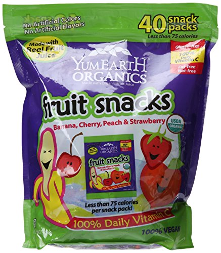 YumEarth Organics Gluten-Free Fruit Snacks with Real Fruit Juice, 40 Count by YumEarth