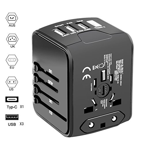 Universal Travel Adapter, Hufuear International Power Adapter with 1 Type C and 3 USB Ports European Adapter for EU, UK, AU,Italy 160+ Countries, All In One Travel Plug Adapter for iPhone, Android by Hfuear