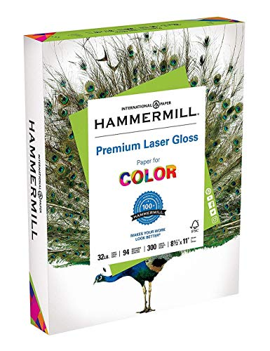 Price comparison product image Hammermill Paper,  Premium Laser Gloss Paper,  8.5 x 11 Paper,  Letter Paper,  32lb Paper,  94 Bright,  (163110R) Acid Free Paper,  300 Sheets / Ream,  2 Ream