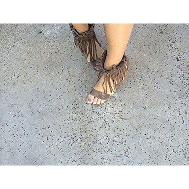 KYDJ @ Mujer-Tacón Robusto-Tacones / Punta AbiertaExterior / Vestido / Casual-Semicuero-Negro / Marrón / Beige beige