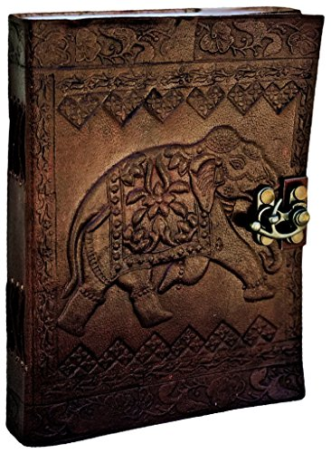 PRASTARA Leather Writing Journal Notebook Classic Spiral Bound Notebook Refillable Diary Sketchbook Gifts with Unlined Travel Journals to Write in for Girls and Boys (Elephant) ()