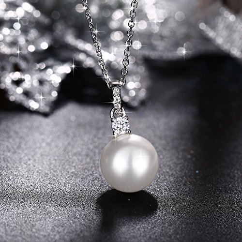 Collier J.Ros/ée Bijoux Femme//Fille Argent 925 Perle dimitation cha/îne /él/égante 45+5mm avec paquet exquis Cadeau de la d/éesse Cadeaux de No/ël Zircone cubique 5A