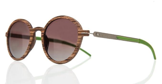 Barkey - Denver Lentes Marron - Gafas de sol de madera real de alta calidad para hombres y mujeres - 100% hechas a mano - Lentes polarizadas