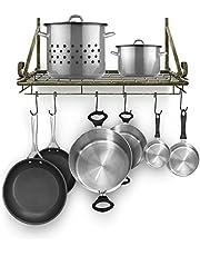 Sorbus Kitchen Wall Pot Rack with Hooks — Decorative Wall Mounted Storage Rack — Multi-Purpose Shelf Organizer for Kitchen Cookware, Utensils, Pans, Books, Bathroom, etc