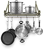 Sorbus Kitchen Wall Pot Rack with Hooks - Decorative Wall Mounted Storage Rack - Multi-Purpose Shelf Organizer for Kitchen Cookware, Utensils, Pans, Books, Bathroom, etc (Rustic)
