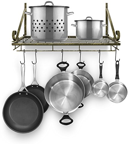 Sorbus Kitchen Wall Pot Rack with Hooks — Decorative Wall Mounted Storage Rack — Multi-Purpose Shelf Organizer for Kitchen Cookware, Utensils, Pans, Books, Bathroom, etc (Rustic)