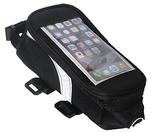 Lauf des Lebens Corsa della vita bicicletta telaio borsa, Velo per Smartphone, impermeabile con uscita per cuffie, Bici da strada MTB Custodia in colore: nero
